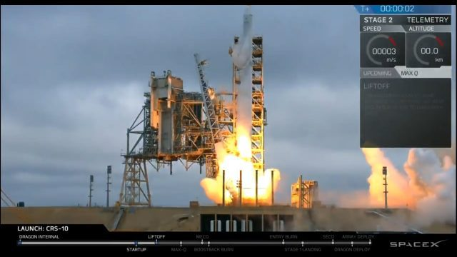 Liftoff of SpaceX CRS-10