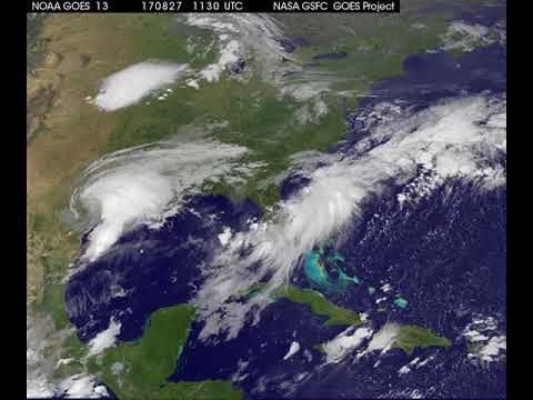 Satellite Animation Shows Harvey Moving into Gulf